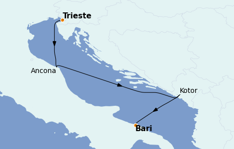 Itinerario del crucero Grecia y Adriático 3 días a bordo del MSC Fantasia