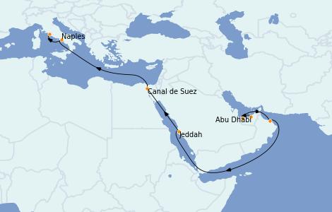 Itinerario del crucero Trasatlántico y Grande Viaje 2023 15 días a bordo del MSC World Europa