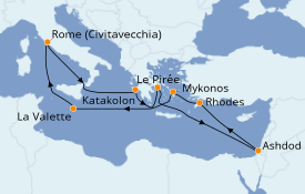 Itinerario de crucero Grecia y Adriático 15 días a bordo del Island Princess