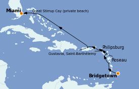 Itinerario de crucero Caribe del Este 9 días a bordo del Seven Seas Explorer