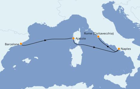 Itinerario del crucero Mediterráneo 3 días a bordo del Norwegian Epic