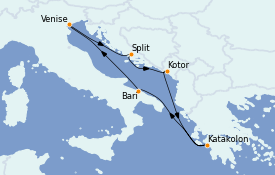 Itinerario de crucero Grecia y Adriático 7 días a bordo del Costa Deliziosa