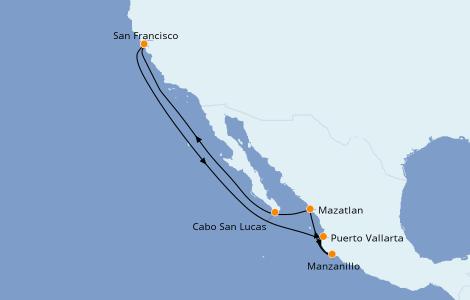 Itinerario del crucero Riviera Mexicana 10 días a bordo del Ruby Princess