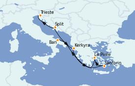 Itinerario de crucero Grecia y Adriático 7 días a bordo del Costa Luminosa