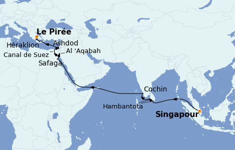Itinerario del crucero Mar Rojo 23 días a bordo del Azamara Quest