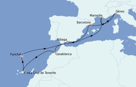 Itinerario del crucero Mediterráneo 11 días a bordo del MSC Poesia