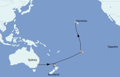 Itinerario del crucero Australia 2023 17 días a bordo del Ovation of the Seas