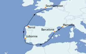 Itinerario de crucero Mediterráneo 8 días a bordo del MSC Virtuosa