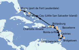 Itinerario de crucero Caribe del Este 15 días a bordo del ms Volendam