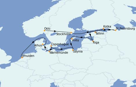 Itinerario del crucero Mar Báltico 14 días a bordo del Marina
