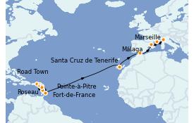 Itinerario de crucero Trasatlántico y Grande Viaje 2022 23 días a bordo del MSC Seaview