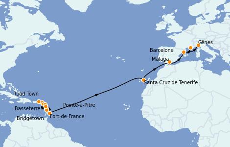 Itinerario del crucero Trasatlántico y Grande Viaje 2022 22 días a bordo del MSC Seaview