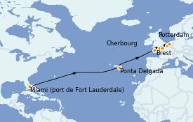 Itinerario de crucero Atlántico 16 días a bordo del ms Volendam
