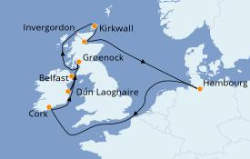 Itinerario de crucero Islas Británicas 11 días a bordo del MSC Preziosa