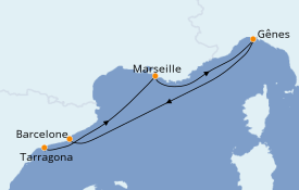 Itinerario de crucero Mediterráneo 5 días a bordo del Costa Fortuna