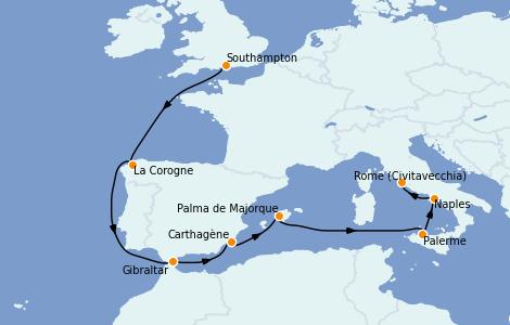 Itinerario del crucero Mediterráneo 10 días a bordo del Island Princess