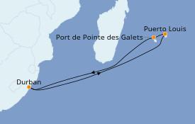 Itinerario de crucero Océano Índico 12 días a bordo del MSC Orchestra