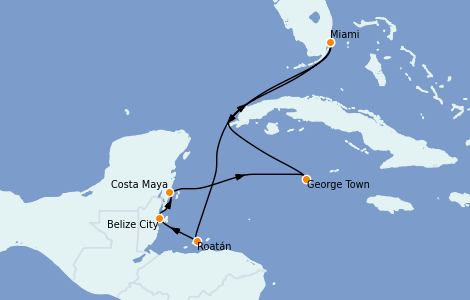 Itinerario del crucero Caribe del Oeste 7 días a bordo del MSC Divina