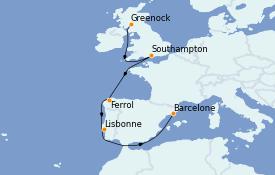 Itinerario de crucero Mediterráneo 13 días a bordo del MSC Virtuosa