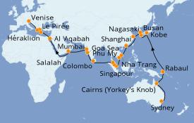 Itinerario de crucero Vuelta al mundo 2020 53 días a bordo del Costa Deliziosa