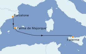 Itinerario de crucero Mediterráneo 4 días a bordo del Costa Smeralda