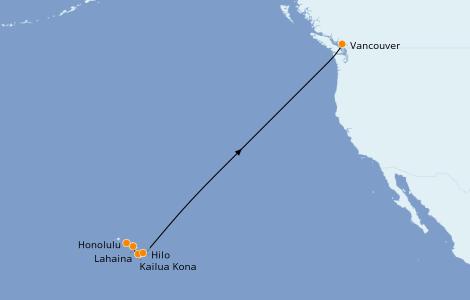Itinerario del crucero Hawaii 11 días a bordo del Celebrity Eclipse