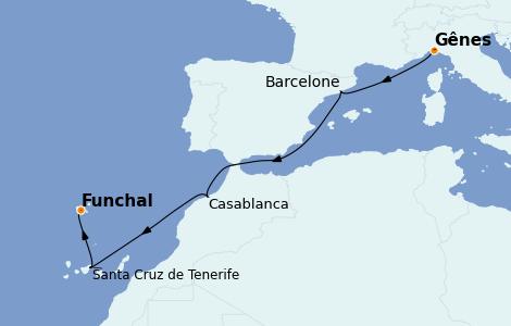 Itinerario del crucero Mediterráneo 6 días a bordo del MSC Poesia