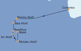 Itinerario de crucero Maldivas 9 días a bordo del Le Lapérouse
