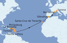 Itinerario de crucero Caribe del Este 22 días a bordo del Costa Magica