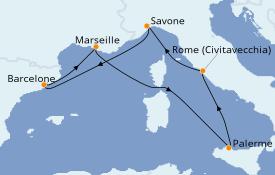 Itinerario de crucero Mediterráneo 7 días a bordo del Costa Toscana