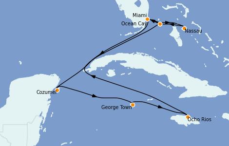 Itinerario del crucero Caribe del Oeste 10 días a bordo del MSC Divina