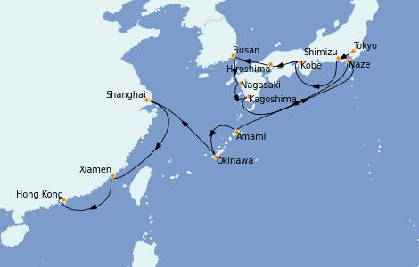 Itinerario del crucero Asia 16 días a bordo del Insignia