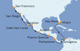 Itinerario de crucero Riviera Mexicana 19 días a bordo del Seven Seas Mariner