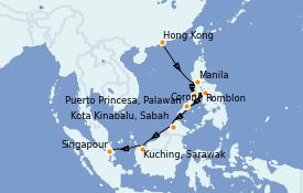 Itinerario de crucero Asia 13 días a bordo del Silver Muse