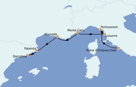 Itinerario del crucero Mediterráneo 7 días a bordo del Silver Dawn