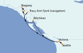 Itinerario de crucero Alaska 8 días a bordo del Carnival Miracle