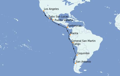 Itinerario del crucero Riviera Mexicana 18 días a bordo del Sapphire Princess