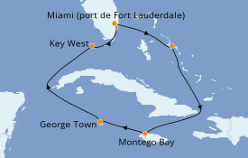 Itinerario de crucero Caribe del Oeste 8 días a bordo del ms Rotterdam