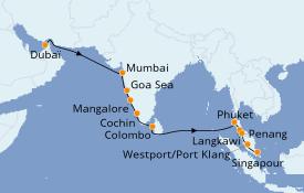 Itinerario de crucero Asia 15 días a bordo del Norwegian Spirit