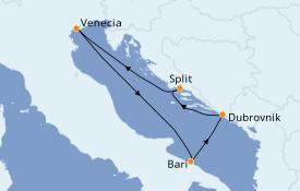 Itinerario de crucero Grecia y Adriático 5 días a bordo del Costa Mediterranea