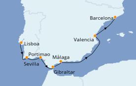 Itinerario de crucero Mediterráneo 9 días a bordo del Azamara Journey