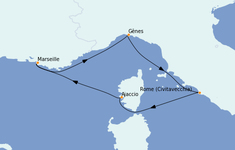 Itinerario del crucero Mediterráneo 4 días a bordo del MSC Seaview