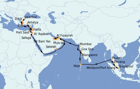 Itinerario del crucero Dubái 42 días a bordo del Seven Seas Explorer
