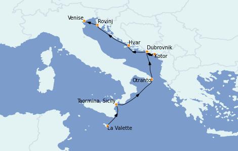 Itinerario del crucero Grecia y Adriático 7 días a bordo del Le Lyrial