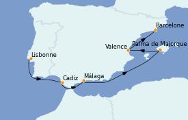 Itinerario de crucero Mediterráneo 8 días a bordo del Le Champlain
