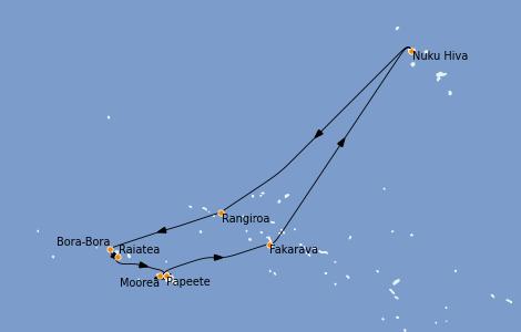 Itinerario del crucero Polinesia 10 días a bordo del Regatta