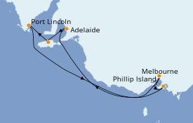 Itinerario de crucero Australia 2022 8 días a bordo del Sapphire Princess