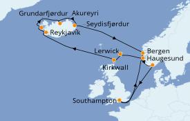Itinerario de crucero Islas Británicas 15 días a bordo del Island Princess