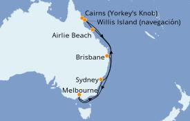 Itinerario de crucero Australia 2021 13 días a bordo del Celebrity Eclipse