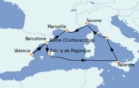 Itinerario de crucero Mediterráneo 10 días a bordo del Costa Smeralda